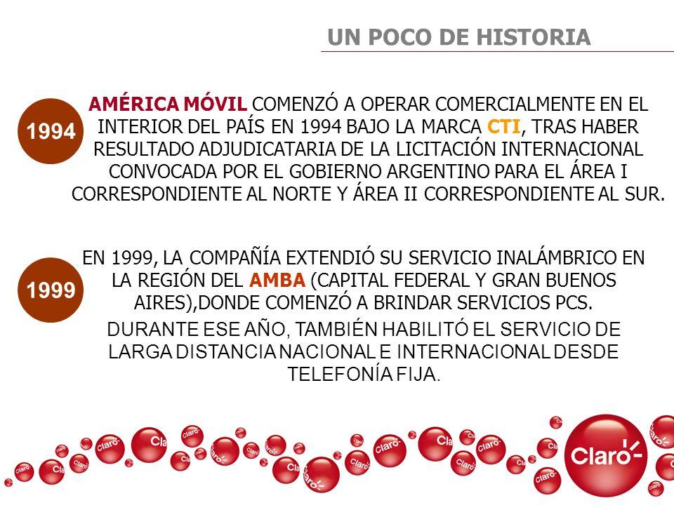 UN POCO DE HISTORIA AMÉRICA MÓVIL COMENZÓ A OPERAR COMERCIALMENTE EN EL INTERIOR DEL PAÍS EN 1994 BAJO LA MARCA CTI, TRAS HABER RESULTADO ADJUDICATARI