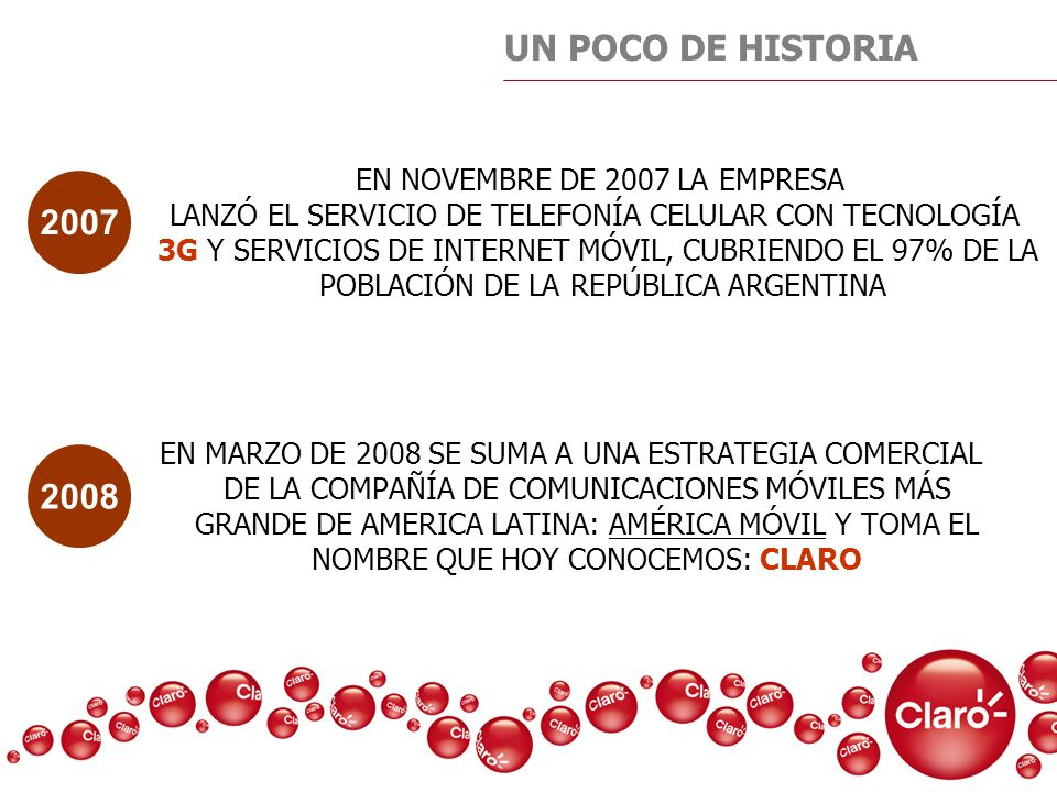 UN POCO DE HISTORIA EN MARZO DE 2008 SE SUMA A UNA ESTRATEGIA COMERCIAL DE LA COMPAÑÍA DE COMUNICACIONES MÓVILES MÁS GRANDE DE AMERICA LATINA: AMÉRICA