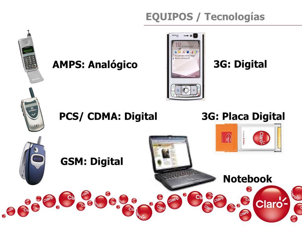 EQUIPOS / Tecnologías GSM: Digital AMPS: Analógico PCS/ CDMA: Digital 3G: Placa Digital 3G: Digital Notebook