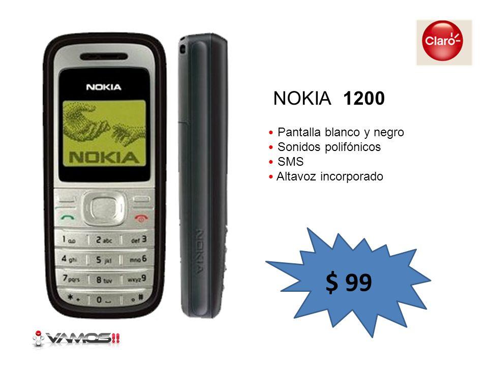 Pantalla blanco y negro Sonidos polifónicos SMS Altavoz incorporado NOKIA 1200 $ 99
