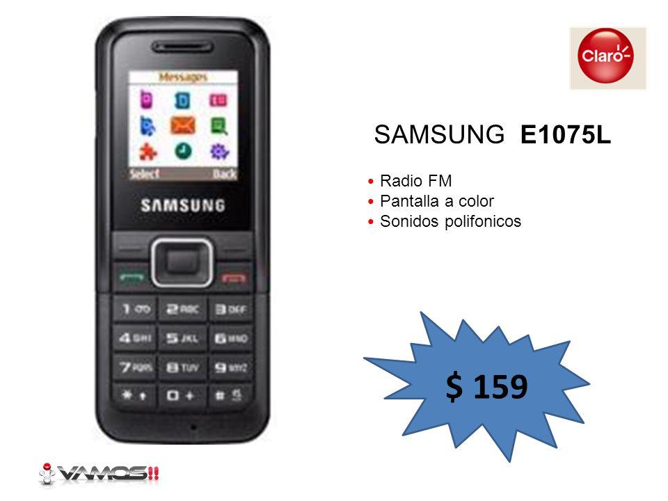 Radio FM Pantalla a color Sonidos polifonicos SAMSUNG E1075L $ 159