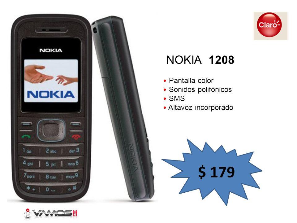 Pantalla color Sonidos polifónicos SMS Altavoz incorporado NOKIA 1208 $ 179