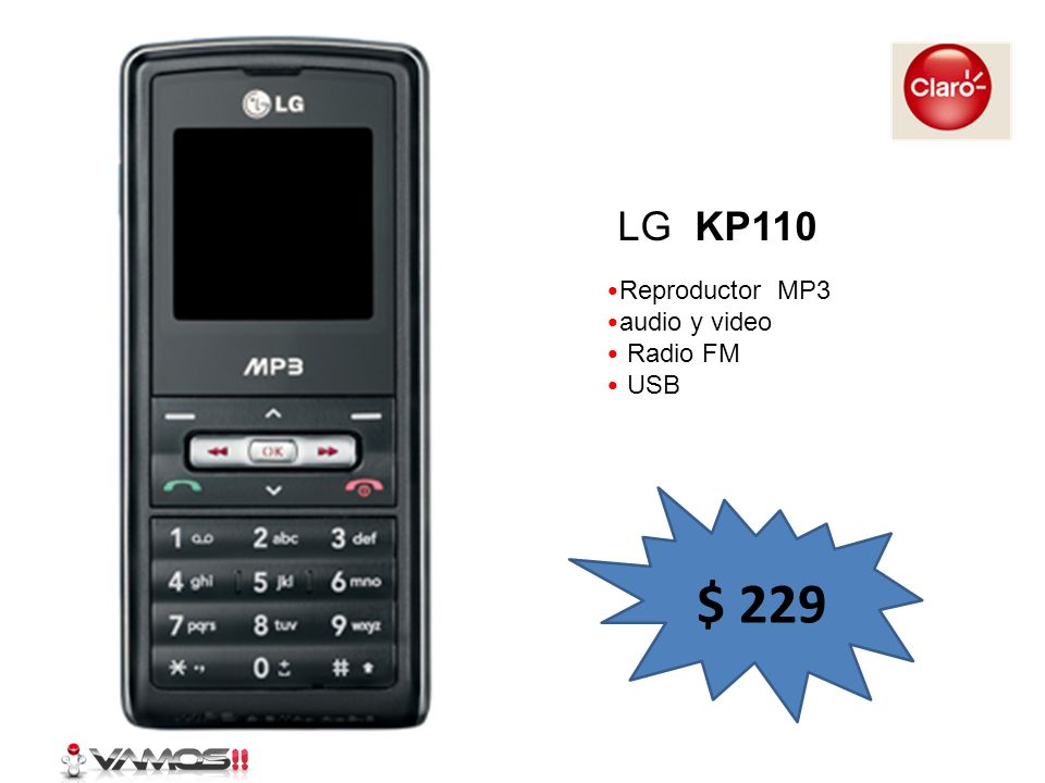 Reproductor MP3 audio y video Radio FM USB LG KP110 $ 229