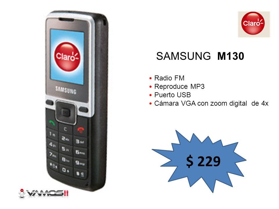 Reproduce MP3 Radio FM Teclas dedicadas a la música 2 GB de memoria expandible Incluye MicroSD de 512 MB Incluye Headset Stereo MOTOROLA W230 $ 241