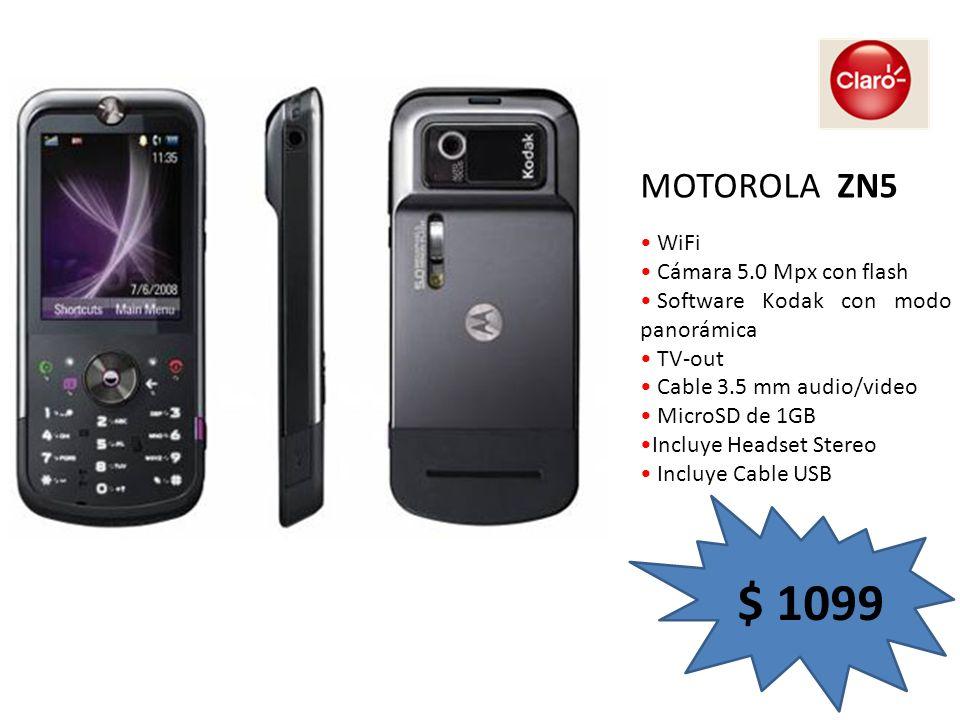 Reproduce MP3 Pantalla externa touch screen Cámara 2.0 Mpx Videoconferencia Bluetooth Stereo Función MotoID Incluye Headset Stereo Incluye Cable USB MOTOROLA V9 $ 1249