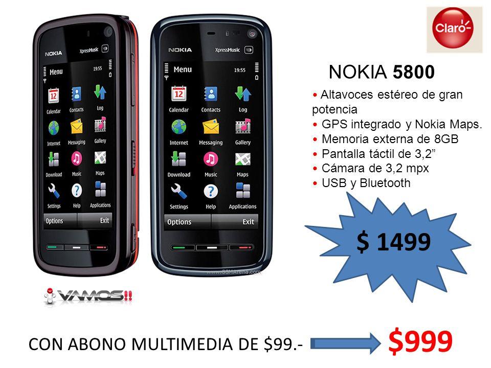 NOKIA 5800 Altavoces estéreo de gran potencia GPS integrado y Nokia Maps. Memoria externa de 8GB Pantalla táctil de 3,2 Cámara de 3,2 mpx USB y Blueto