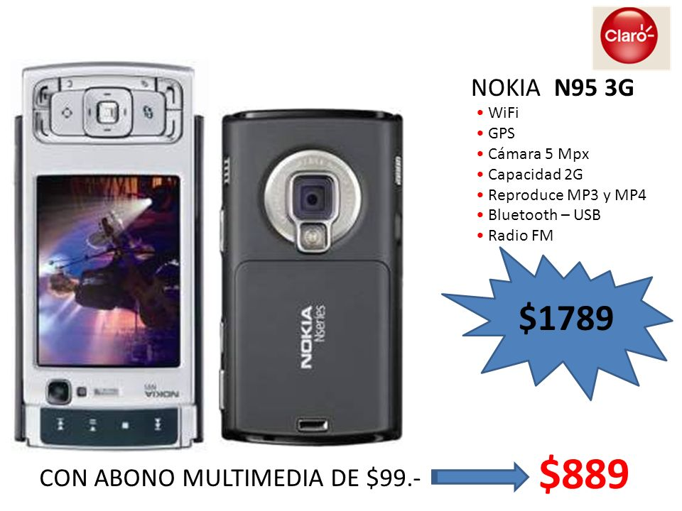 WiFi GPS Cámara 5 Mpx Capacidad 2G Reproduce MP3 y MP4 Bluetooth – USB Radio FM NOKIA N95 3G $1789 CON ABONO MULTIMEDIA DE $99.- $889