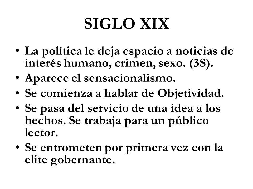SIGLO XIX La política le deja espacio a noticias de interés humano, crimen, sexo. (3S). Aparece el sensacionalismo. Se comienza a hablar de Objetivida