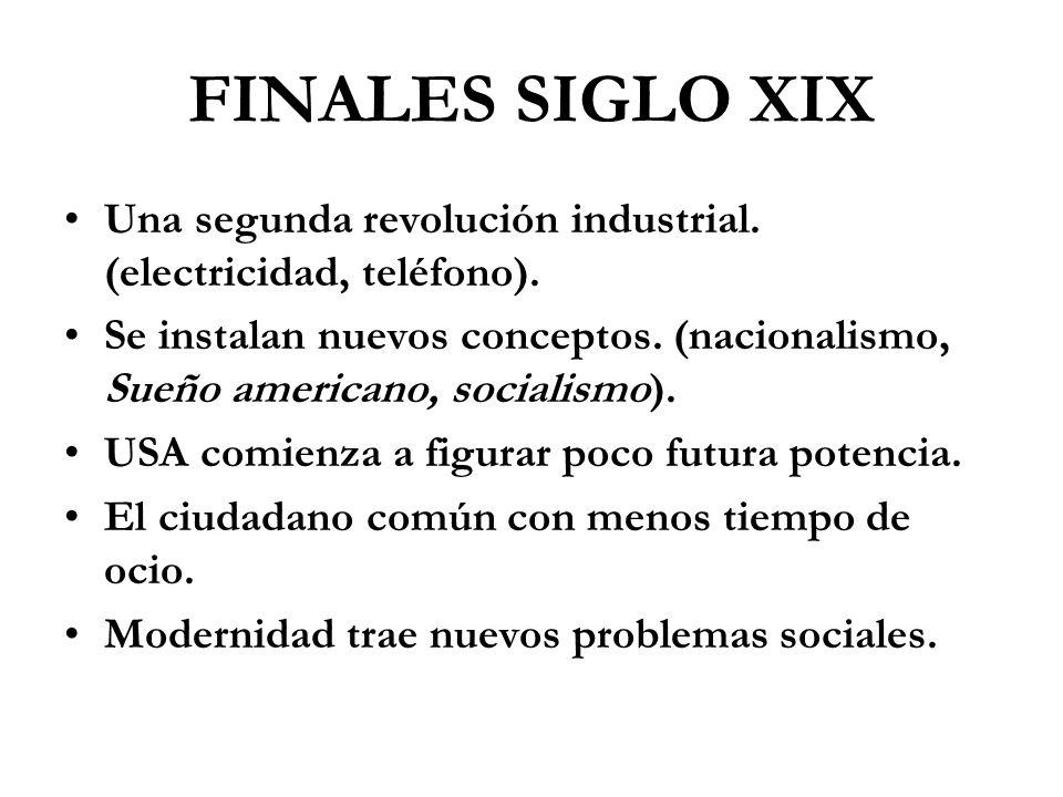 FINALES SIGLO XIX Una segunda revolución industrial. (electricidad, teléfono). Se instalan nuevos conceptos. (nacionalismo, Sueño americano, socialism