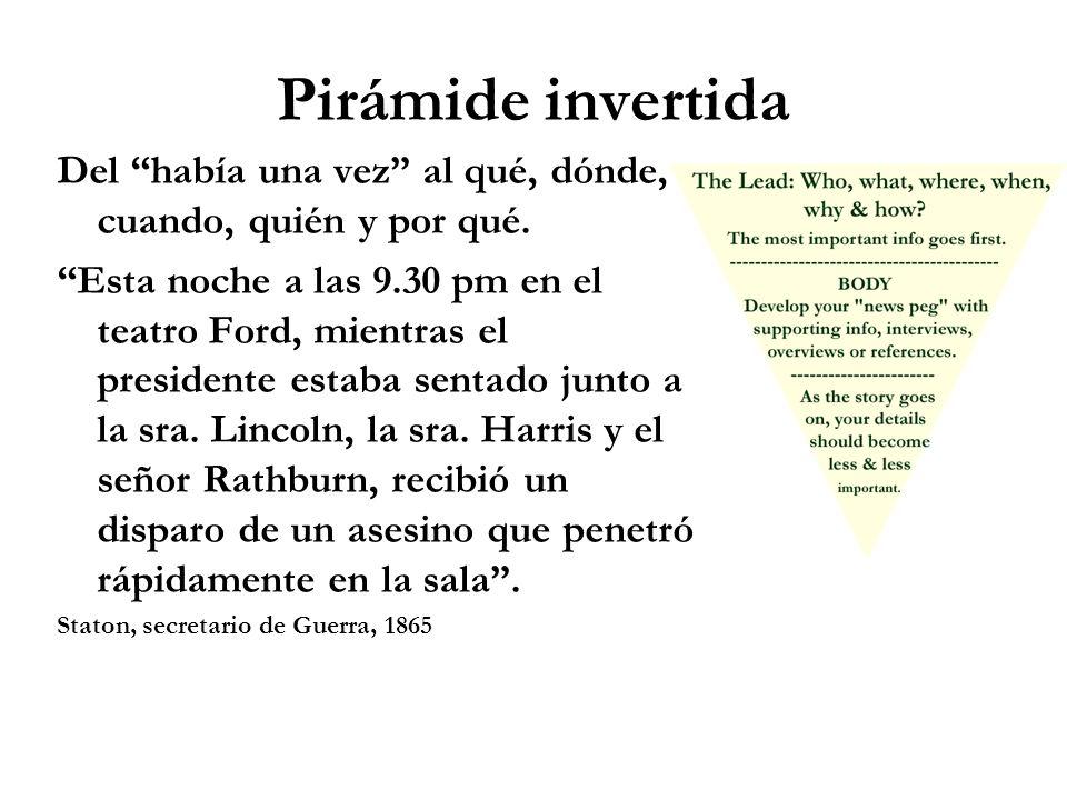 Pirámide invertida Del había una vez al qué, dónde, cuando, quién y por qué. Esta noche a las 9.30 pm en el teatro Ford, mientras el presidente estaba