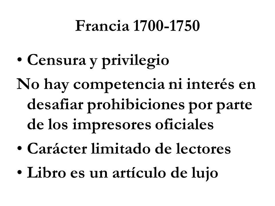 Francia 1700-1750 Censura y privilegio No hay competencia ni interés en desafiar prohibiciones por parte de los impresores oficiales Carácter limitado de lectores Libro es un artículo de lujo