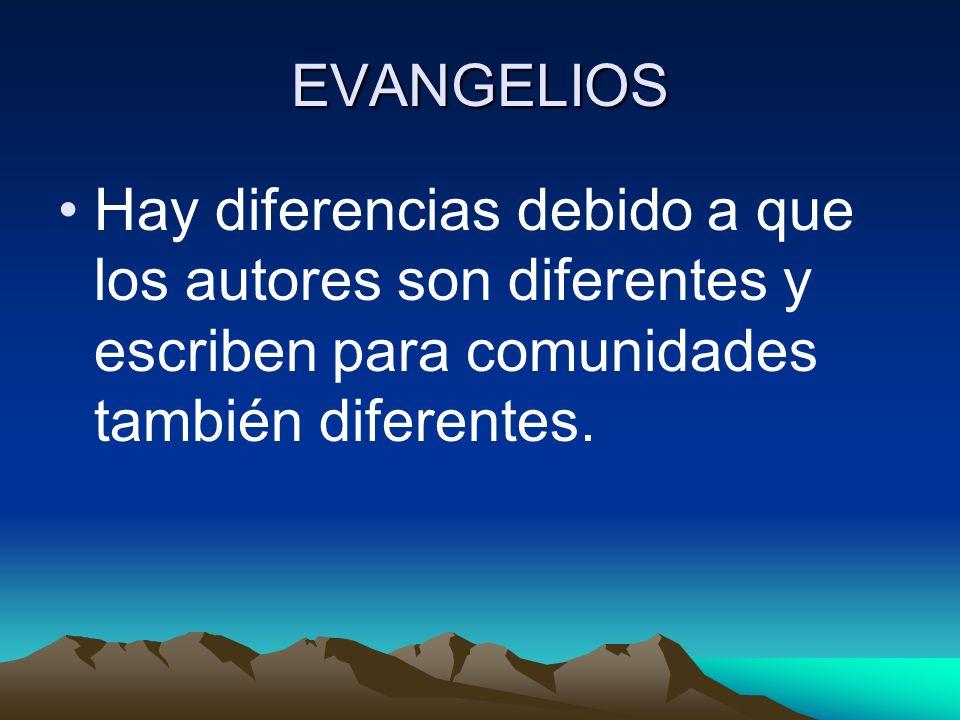 EVANGELIOS Hay diferencias debido a que los autores son diferentes y escriben para comunidades también diferentes.