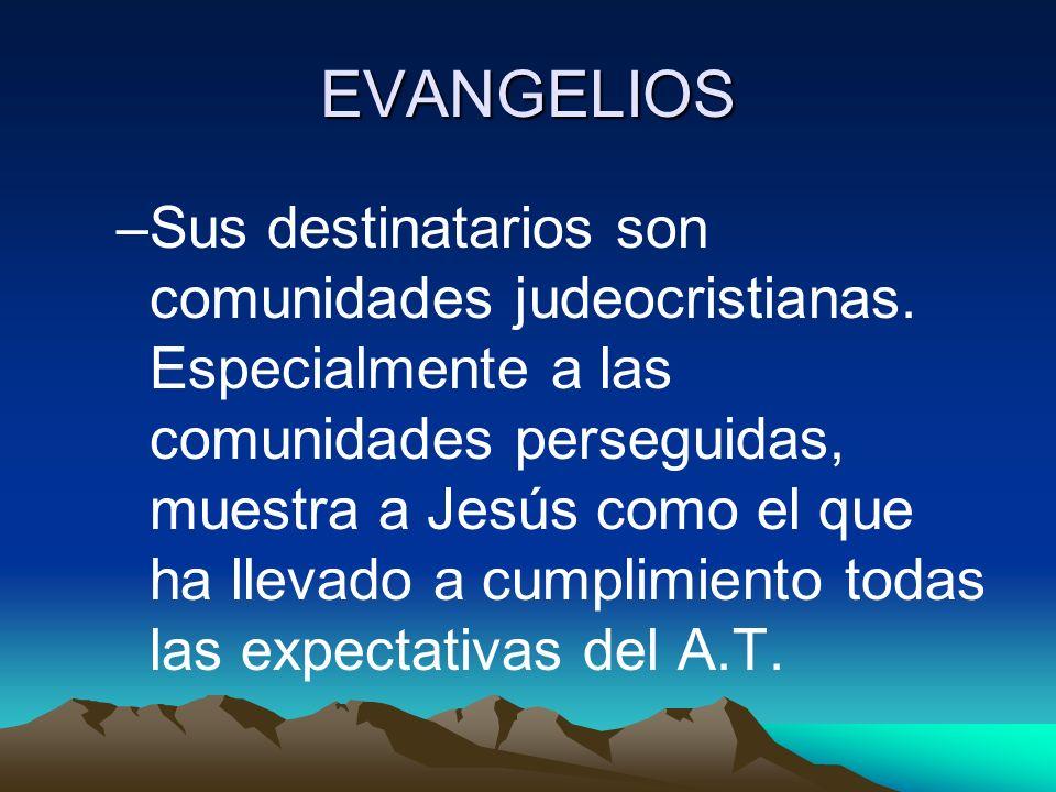 EVANGELIOS –Sus destinatarios son comunidades judeocristianas. Especialmente a las comunidades perseguidas, muestra a Jesús como el que ha llevado a c