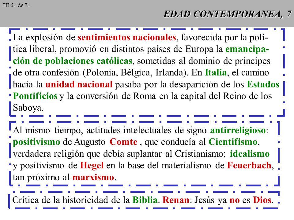 EDAD CONTEMPORANEA, 6 Hacia el año 1830 apareció un grupo de católicos liberales, formado en Francia en torno a la revista LAvenir, bajo la dirección