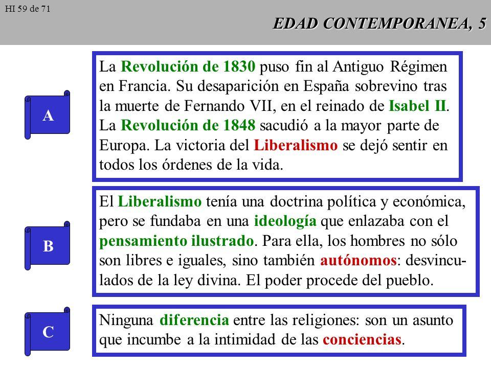 EDAD CONTEMPORANEA, 5 A La Revolución de 1830 puso fin al Antiguo Régimen en Francia.