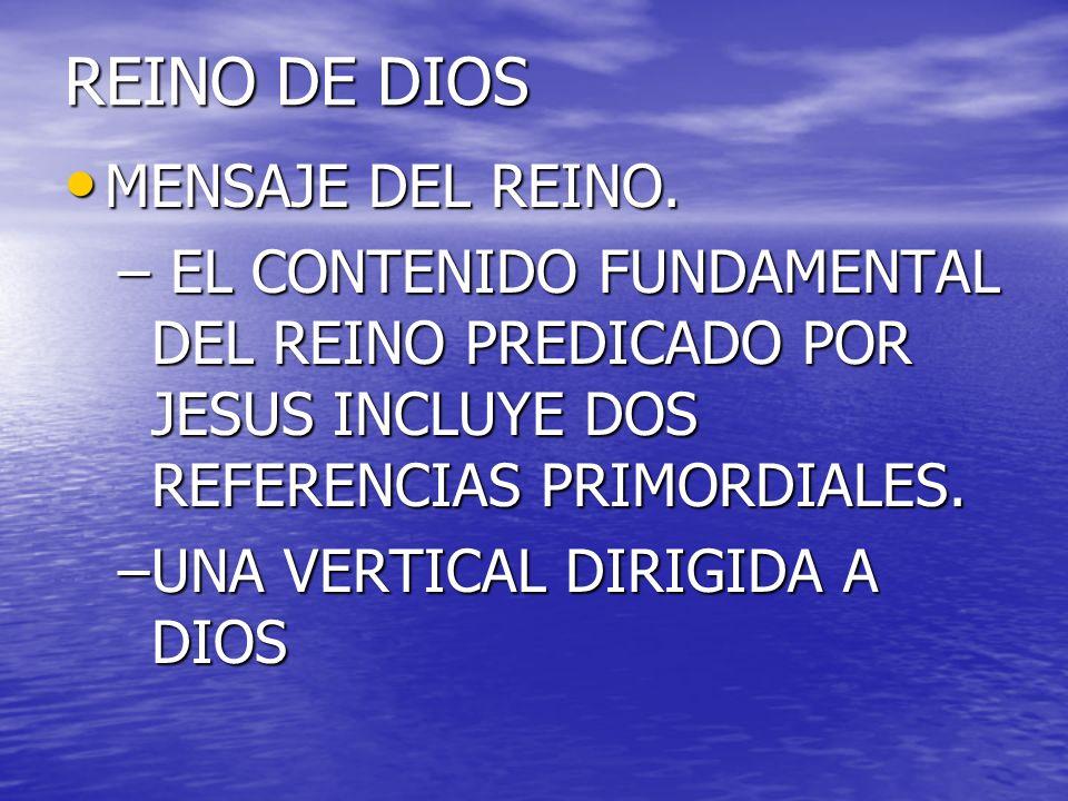 REINO DE DIOS MENSAJE DEL REINO. MENSAJE DEL REINO. – EL CONTENIDO FUNDAMENTAL DEL REINO PREDICADO POR JESUS INCLUYE DOS REFERENCIAS PRIMORDIALES. –UN