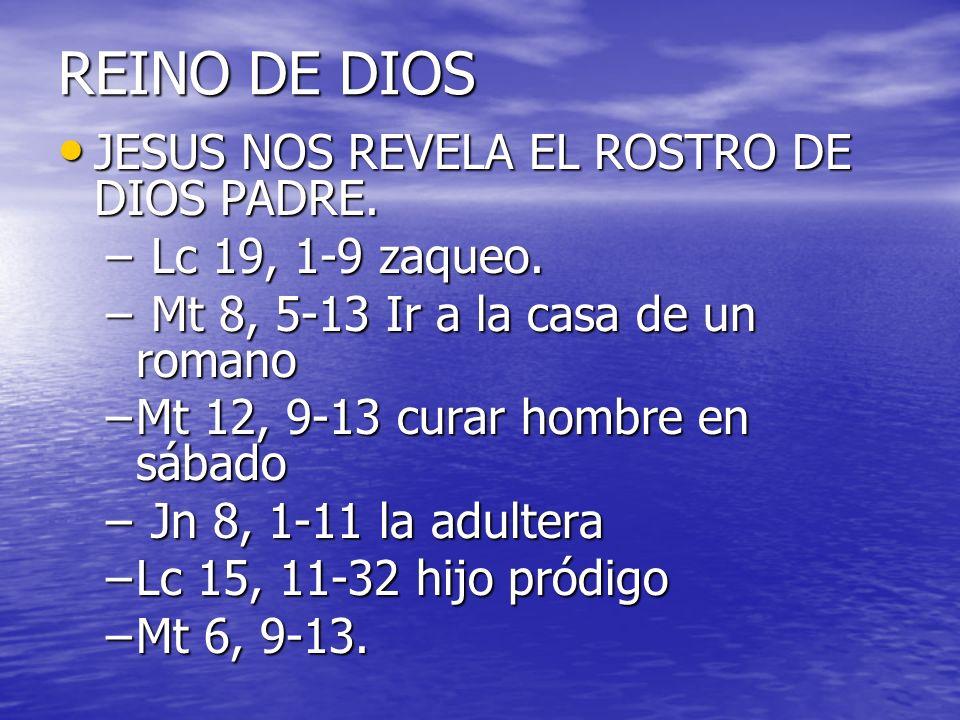 REINO DE DIOS JESUS NOS REVELA EL ROSTRO DE DIOS PADRE. JESUS NOS REVELA EL ROSTRO DE DIOS PADRE. – Lc 19, 1-9 zaqueo. – Mt 8, 5-13 Ir a la casa de un