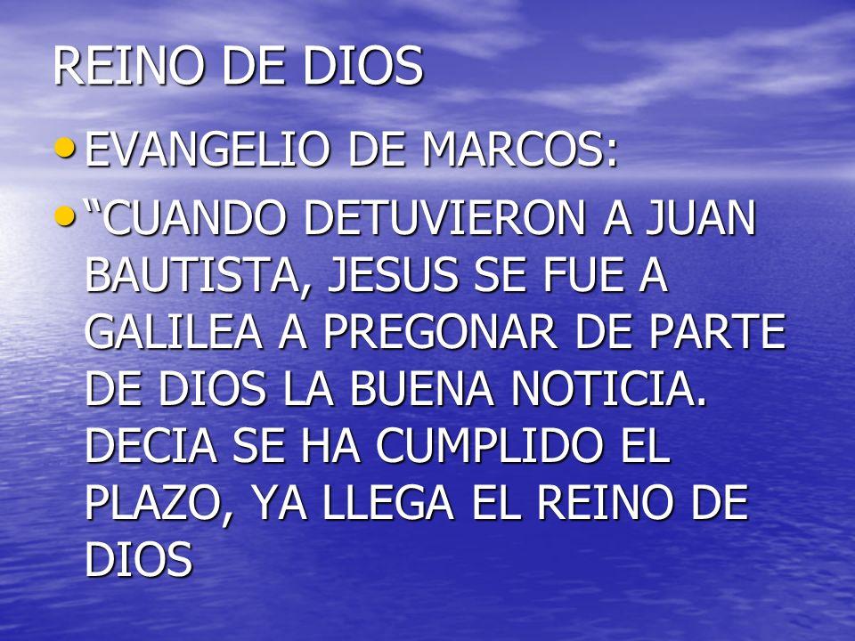 REINO DE DIOS EVANGELIO DE MARCOS: EVANGELIO DE MARCOS: CUANDO DETUVIERON A JUAN BAUTISTA, JESUS SE FUE A GALILEA A PREGONAR DE PARTE DE DIOS LA BUENA