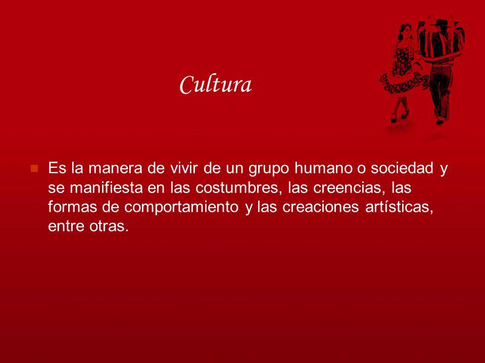 Cultura Es la manera de vivir de un grupo humano o sociedad y se manifiesta en las costumbres, las creencias, las formas de comportamiento y las creac