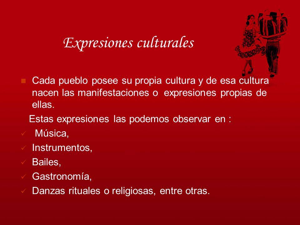 Expresiones culturales Cada pueblo posee su propia cultura y de esa cultura nacen las manifestaciones o expresiones propias de ellas. Estas expresione