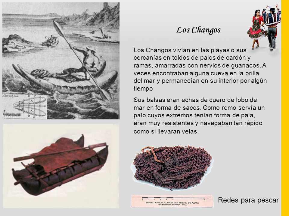 Los Changos Los Changos vivían en las playas o sus cercanías en toldos de palos de cardón y ramas, amarradas con nervios de guanacos. A veces encontra