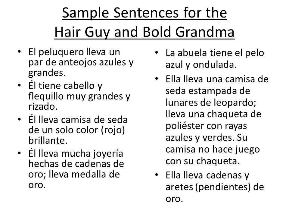 Sample Sentences for the Hair Guy and Bold Grandma El peluquero lleva un par de anteojos azules y grandes. Él tiene cabello y flequillo muy grandes y