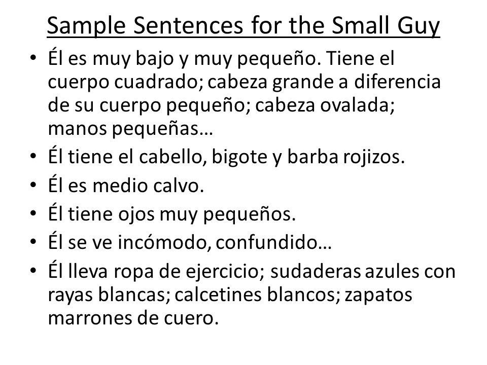 Sample Sentences for the Small Guy Él es muy bajo y muy pequeño. Tiene el cuerpo cuadrado; cabeza grande a diferencia de su cuerpo pequeño; cabeza ova