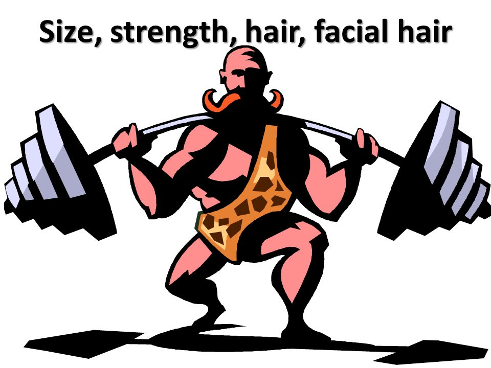 Size, strength, hair, facial hair