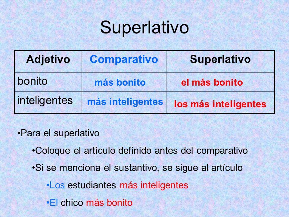 Superlativo AdjetivoComparativoSuperlativo bonito inteligentes más bonitoel más bonito más inteligentes los más inteligentes Para el superlativo Coloq