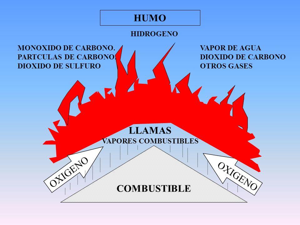 HIDROGENO MONOXIDO DE CARBONO. PARTCULAS DE CARBONO. DIOXIDO DE SULFURO VAPOR DE AGUA DIOXIDO DE CARBONO OTROS GASES OXIGENO COMBUSTIBLE HUMO LLAMAS V