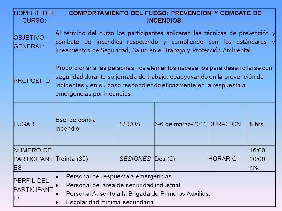 NOMBRE DEL CURSO: COMPORTAMIENTO DEL FUEGO: PREVENCION Y COMBATE DE INCENDIOS. OBJETIVO GENERAL: Al término del curso los participantes aplicaran las