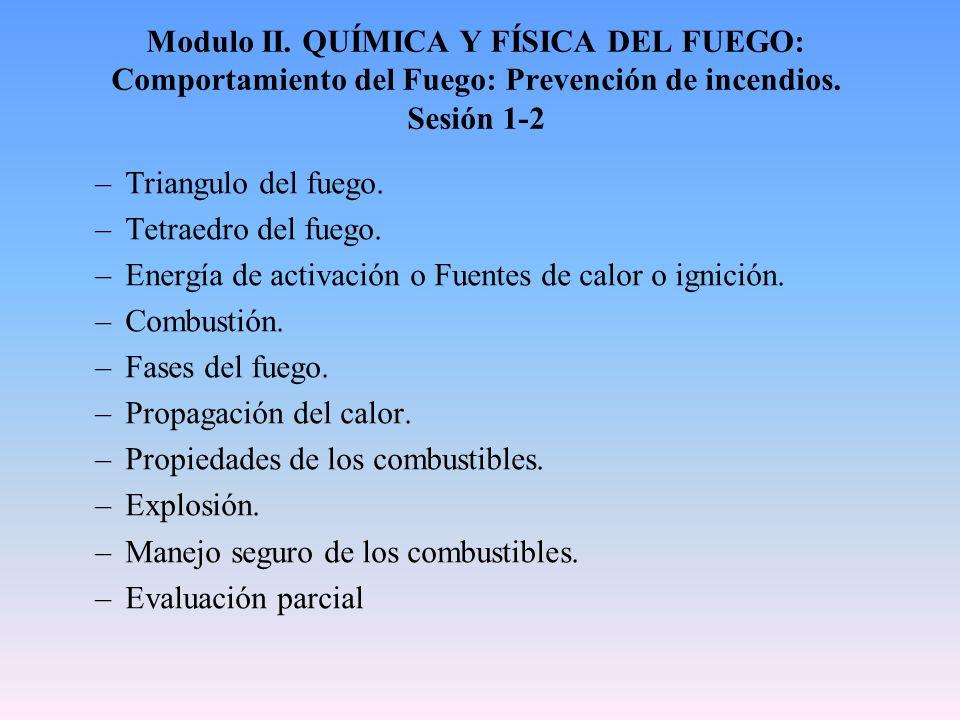 Modulo II. QUÍMICA Y FÍSICA DEL FUEGO: Comportamiento del Fuego: Prevención de incendios. Sesión 1-2 –Triangulo del fuego. –Tetraedro del fuego. –Ener