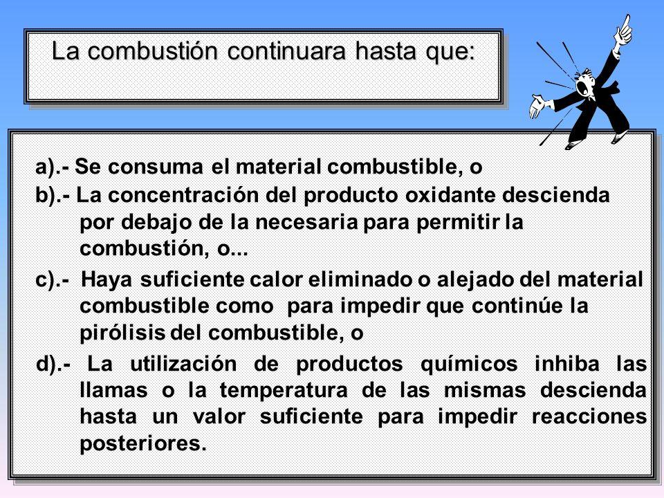 a).- Se consuma el material combustible, o b).- La concentración del producto oxidante descienda por debajo de la necesaria para permitir la combustió