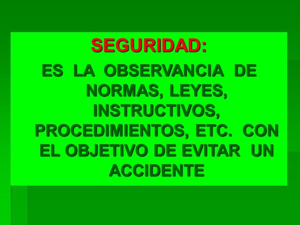 SEGURIDAD: ES LA OBSERVANCIA DE NORMAS, LEYES, INSTRUCTIVOS, PROCEDIMIENTOS, ETC. CON EL OBJETIVO DE EVITAR UN ACCIDENTE
