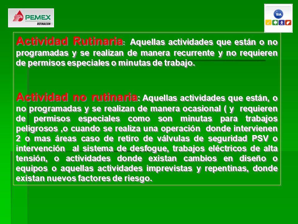 Actividad Rutinaria : Aquellas actividades que están o no programadas y se realizan de manera recurrente y no requieren de permisos especiales o minut