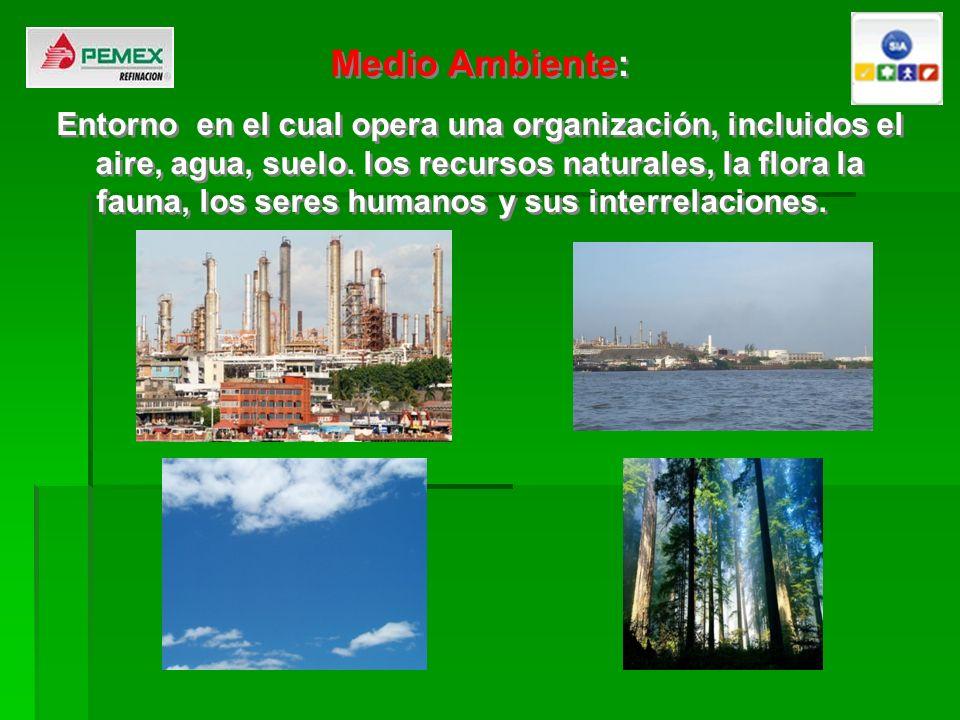 Medio Ambiente: Entorno en el cual opera una organización, incluidos el aire, agua, suelo. los recursos naturales, la flora la fauna, los seres humano