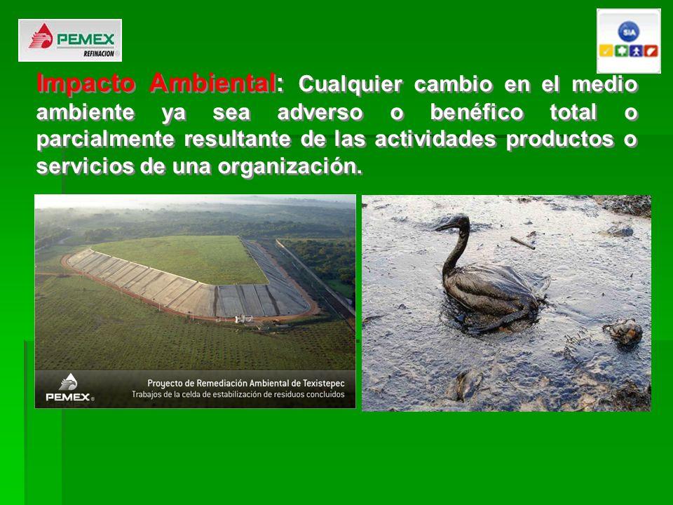 Impacto Ambiental: Cualquier cambio en el medio ambiente ya sea adverso o benéfico total o parcialmente resultante de las actividades productos o serv