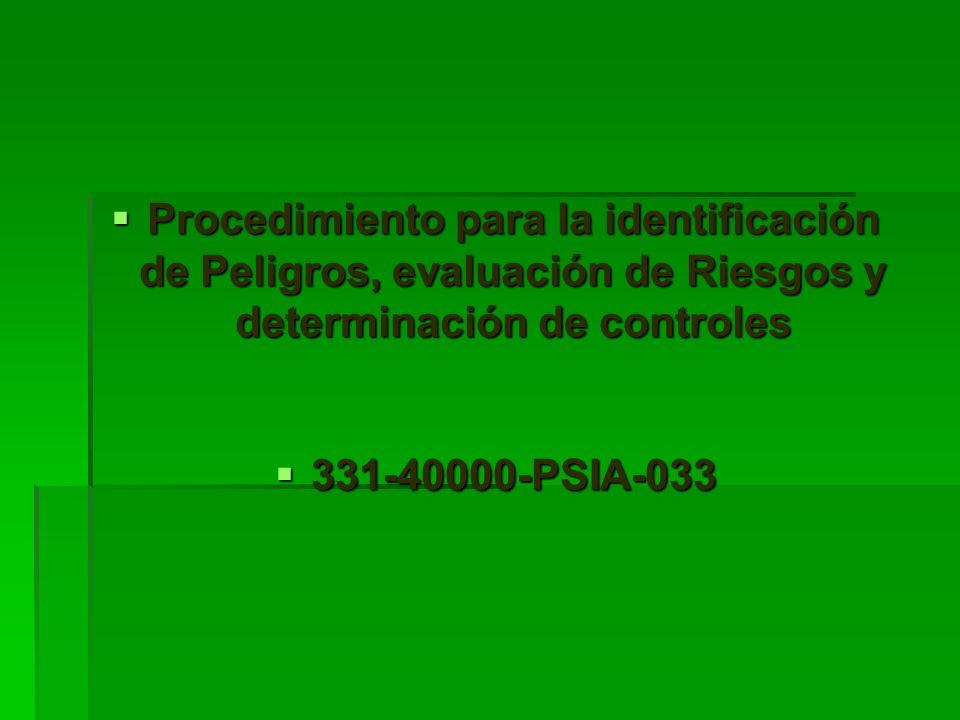 Procedimiento para la identificación de Peligros, evaluación de Riesgos y determinación de controles Procedimiento para la identificación de Peligros,