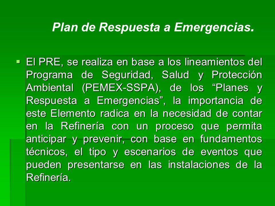 El PRE, se realiza en base a los lineamientos del Programa de Seguridad, Salud y Protección Ambiental (PEMEX-SSPA), de los Planes y Respuesta a Emerge