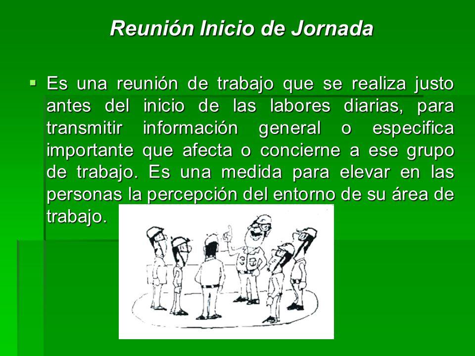 Reunión Inicio de Jornada Es una reunión de trabajo que se realiza justo antes del inicio de las labores diarias, para transmitir información general