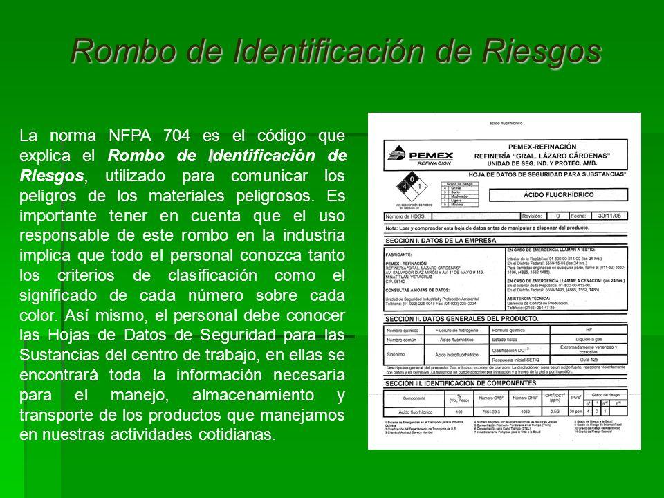 I La norma NFPA 704 es el código que explica el Rombo de Identificación de Riesgos, utilizado para comunicar los peligros de los materiales peligrosos