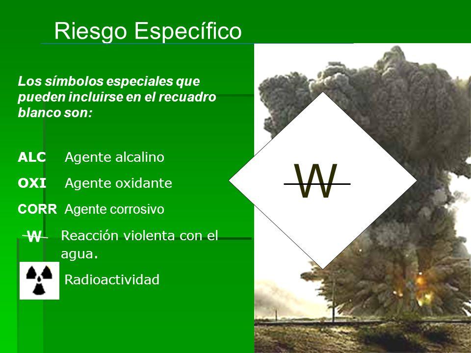 W Riesgo Específico Reacción violenta con el agua. OXIAgente oxidante Radioactividad CORRAgente corrosivo ALCAgente alcalino Los símbolos especiales q