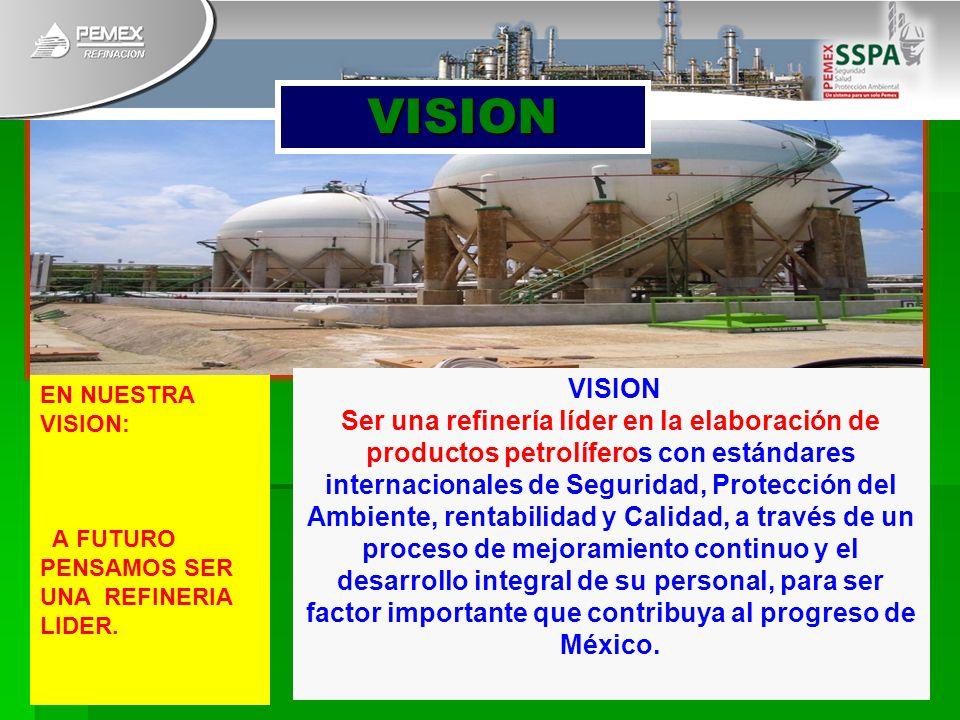EN NUESTRA VISION: A FUTURO PENSAMOS SER UNA REFINERIA LIDER. VISION Ser una refinería líder en la elaboración de productos petrolíferos con estándare