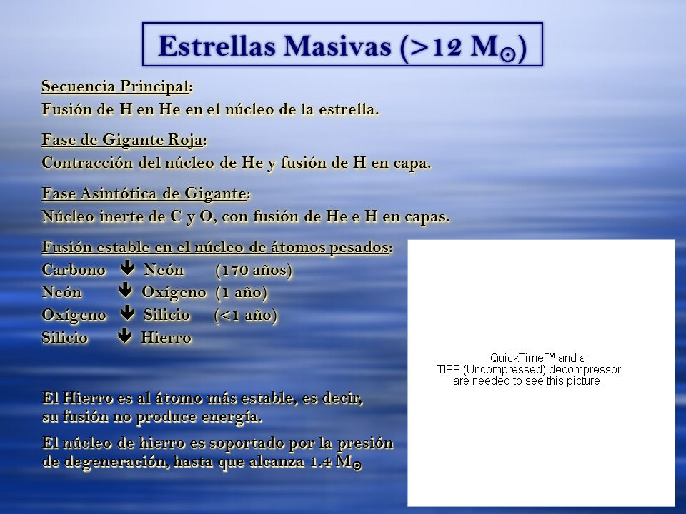 Estrellas Masivas (>12 M ) Secuencia Principal: Fusión de H en He en el núcleo de la estrella. Fase de Gigante Roja: Contracción del núcleo de He y fu