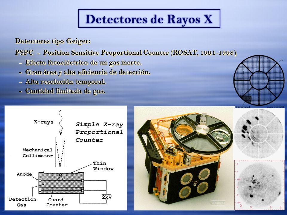 Detectores de Rayos X Detectores tipo Geiger: PSPC - Position Sensitive Proportional Counter (ROSAT, 1991-1998) - Efecto fotoeléctrico de un gas inerte.