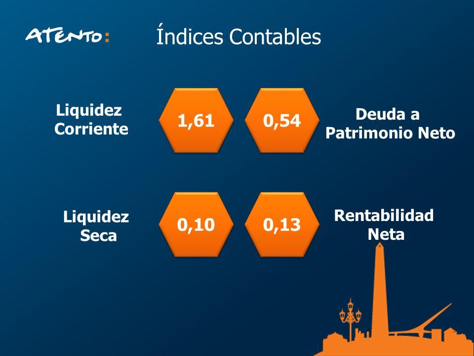 Índices Contables 1,61 Liquidez Corriente 0,10 0,54 Deuda a Patrimonio Neto 0,13 Rentabilidad Neta Liquidez Seca