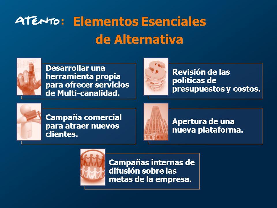 Elementos Esenciales de Alternativa Desarrollar una herramienta propia para ofrecer servicios de Multi-canalidad. Revisión de las políticas de presupu