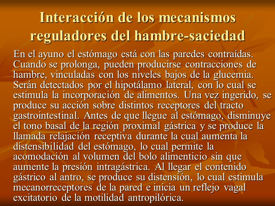 Interacción de los mecanismos reguladores del hambre-saciedad En el ayuno el estómago está con las paredes contraídas. Cuando se prolonga, pueden prod