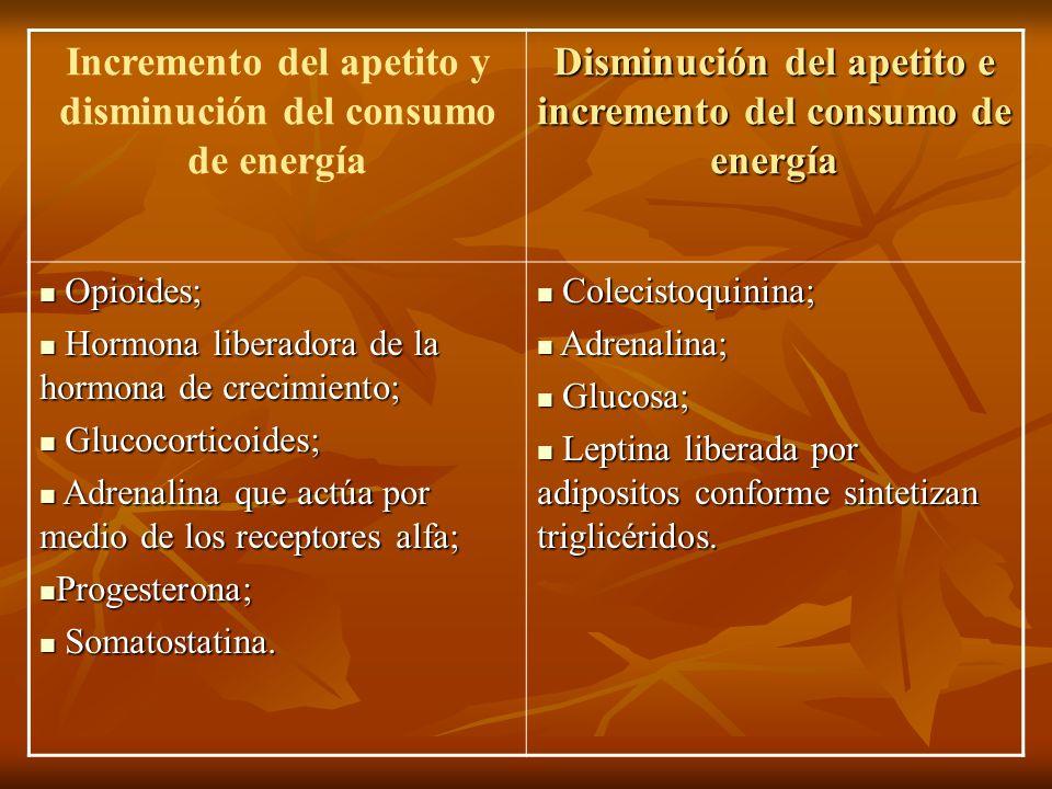 Incremento del apetito y disminución del consumo de energía Disminución del apetito e incremento del consumo de energía Opioides; Opioides; Hormona li