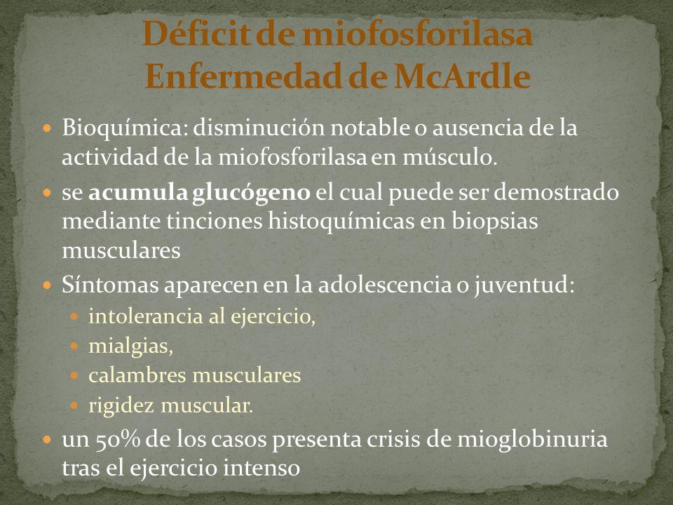 Bioquímica: disminución notable o ausencia de la actividad de la miofosforilasa en músculo. se acumula glucógeno el cual puede ser demostrado mediante